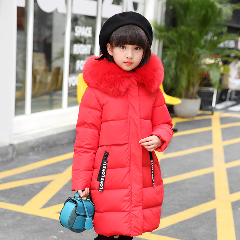 Kids Girls Winter Jackets White Duck Down Teen Girls Winter Coats Big Fur Hood Children Winter Jackets 6 8 10 12 14 years buenos ninos thick winter children jackets girls boys coats hooded raccoon fur collar kids outerwear duck down padded snowsuit