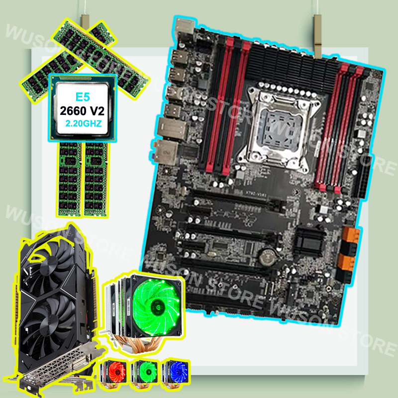 Famous Brand Runing Super X79 Motherboard With Video Card GTX1050TI 4G CPU Xeon 2660 V2 2.2GHz With Cooler RAM 4*16G 1600 RECC