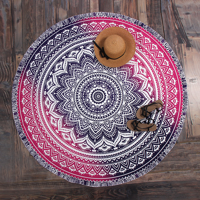 Fashion Magenta India Datura Round Blanket Summer Beach Tower Floor Mat For Outdoor Picnic