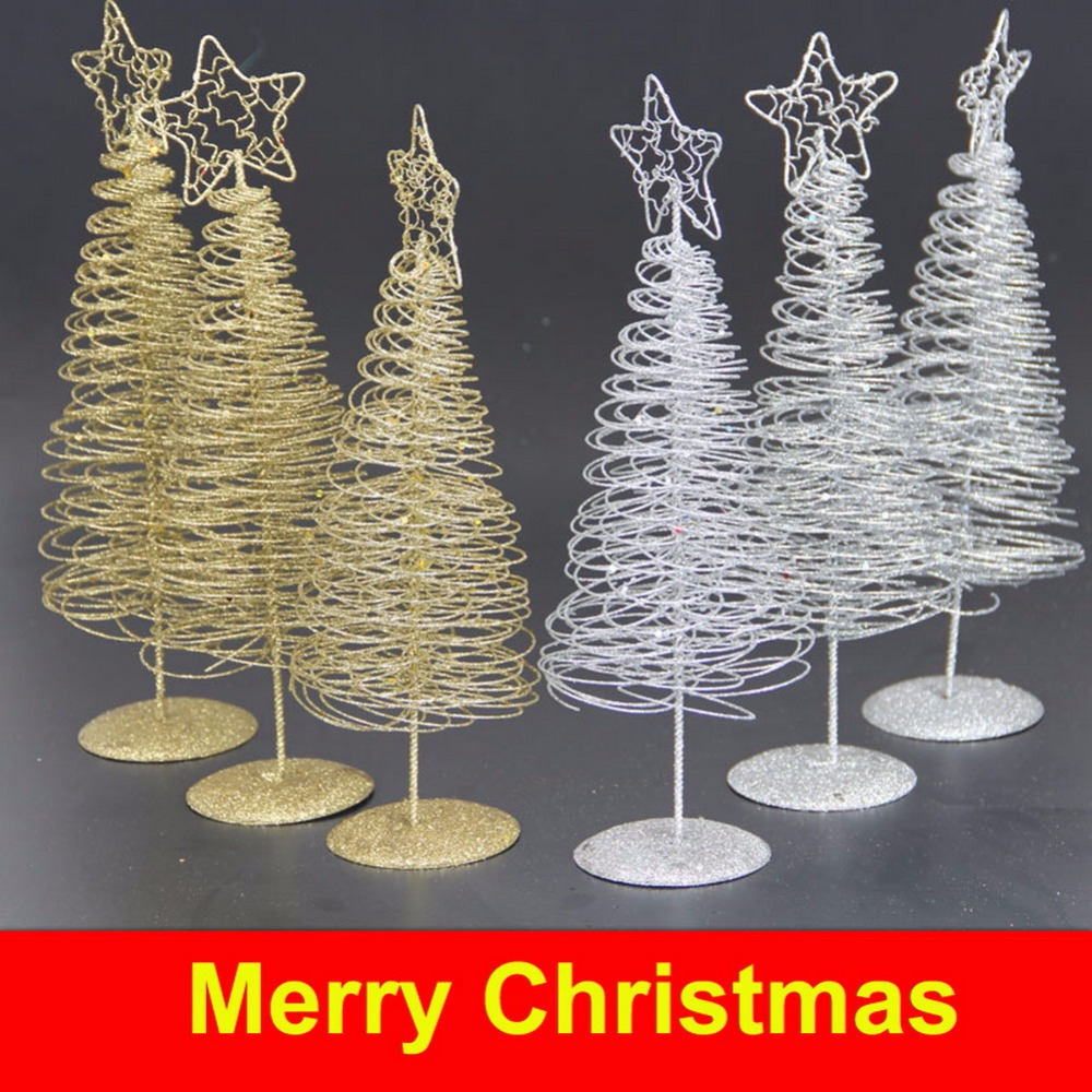 30cm Christmas Iron Wire Tree With Five Pointed Star Home Garden Ornaments  Home Decoration Mini
