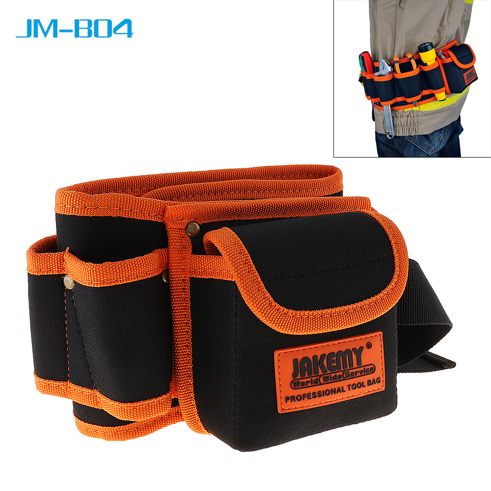 JAKEMY New JM-B04 Multi-function Durable Belt Electrician Mechanic Canvas Tool Bag Utility Kit with Pocket Pouch