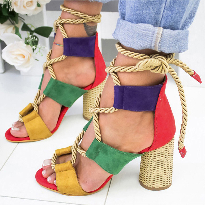 Women Sandals Peep Toe Gladiator Sandals For Women Lace Up High Heels Sandalias Mujer 2019 Summer Shoes Woman Hemp Block Heels