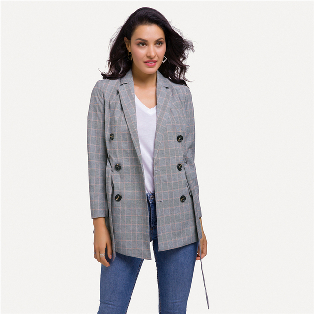 Casual Women Plaid Blazer Jacket Coat Belt Double Breasted Long Blazers Foraml Suit Casual Office Lady Wokr Wear Outwear chifave 1