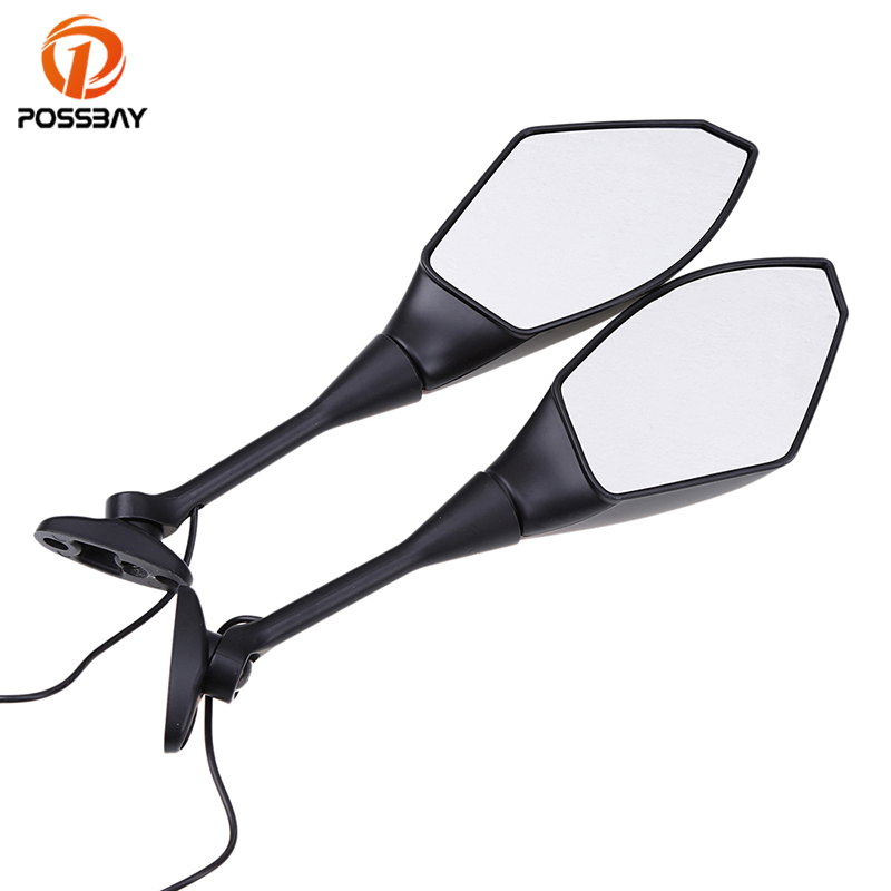 POSSBAY Mirrors With Flasher Lights For Honda CBR600RR 2003 2008 CBR1000RR 2004 2008 Motorcycle Motorbike Side