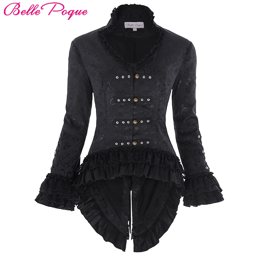 2018 Retro Vintage Victorian Brocade Corset Women Outerwear Coat Black Jacket Lace Embellished Dovetail Jacquard Gothic Coats