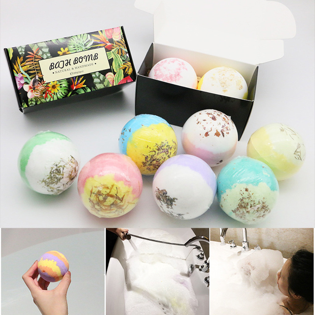 2pcs/Bag Bathing Bombs Explosion Ball Fizzy Spa Moisturizes Bubble Bath Rainbow Soap Boules De Bains Soft Shower Wholesale