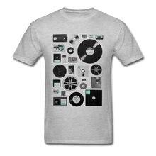76c37ed7f5f0f Классические данные Ele мужские футболки DJ Records Футболка мужская белая  одежда джазовая кассета футболка 3D Топы