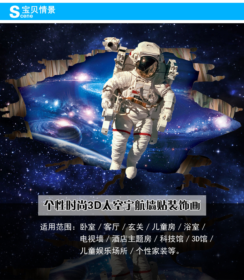 Hot 3D stickers space astronauts Wall Stickers Cartoon astronaut bedroom  ether sticker to home decorate in. Astronauts Stickers   louisvuittonukonlinestore com