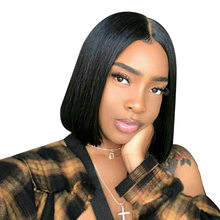 USEXY HAIR 4X4 Short Lace Front Human Hair Wigs For Women Brazilian Straight Remy Bob Wig Lace Frontal Wig pre plucked Baby Hair(China)