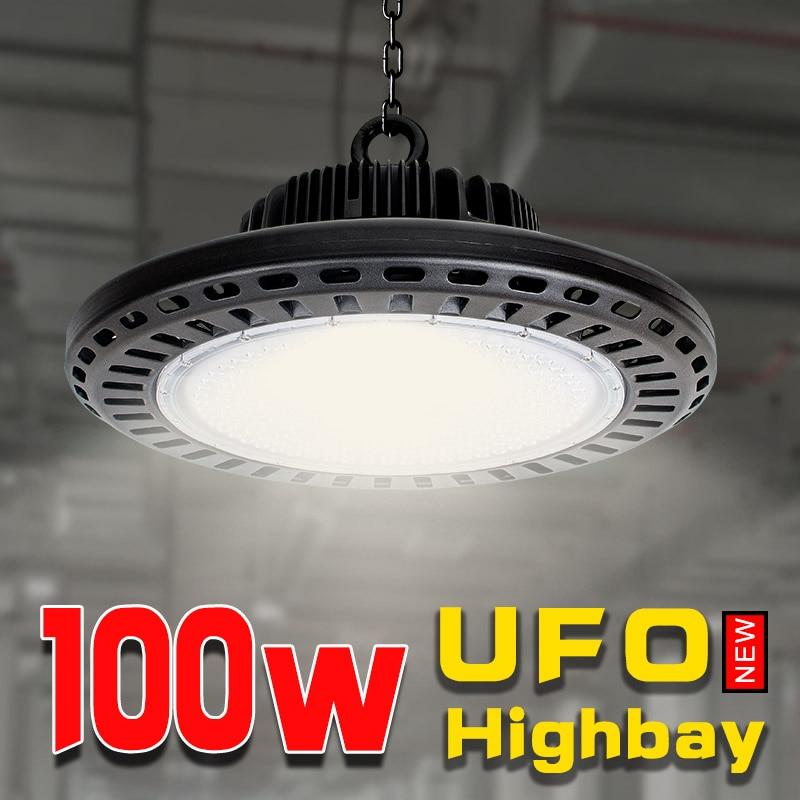 Garage éclairage 100 w ufo led high bay puissant lumières taller construction lampe de lumière industrielle pour travail 110 v 220 v en aluminium