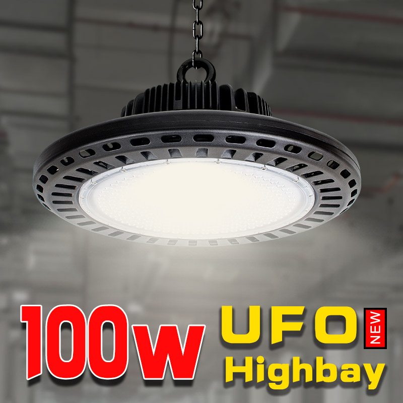 Lampadina industrieel luz più alto officina officina lampe garage led usa illuminazione 100 w ufo di alta bay potenti luci di costruzione per