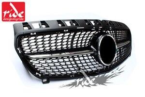 Image 5 - יהלומי מול סורג עבור מרצדס בנץ ברמה W176 מבריק שחור ללא סמל תג ABS החלפת 2013 15 a180 A250 A200 A300