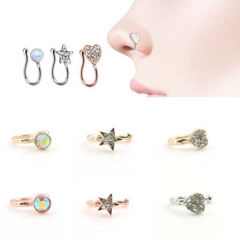 Wholesale 100PCS/Lot Mix Crystal Mrs. Unique Nose Clip Noseclip Fake Nose Ring Faux Piercing Fake Septum Body Jewelry