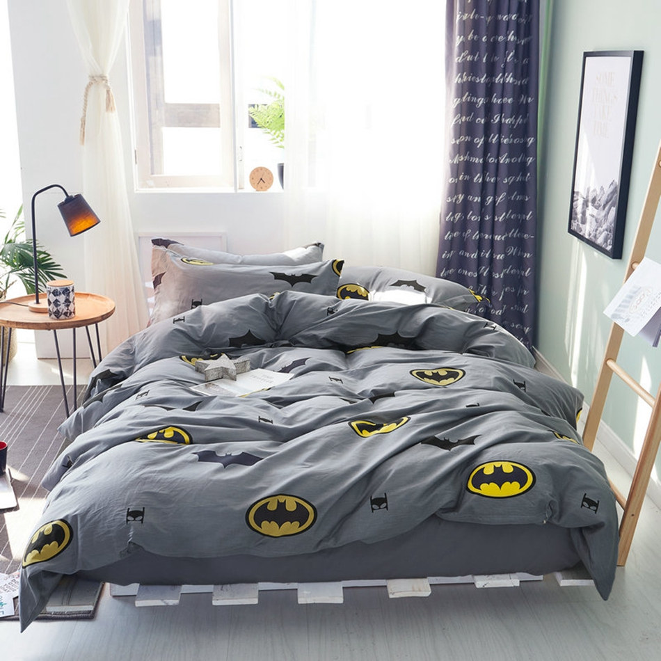 batman duvet cover set 100 cotton grey duvet cover solid color bed sheets cartoon pillow case. Black Bedroom Furniture Sets. Home Design Ideas