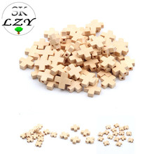 50PCS Wood Color Cross Beads DIY Childrens Toys Wooden Handmade Jewelry Making Accessories Wholesale 15mm