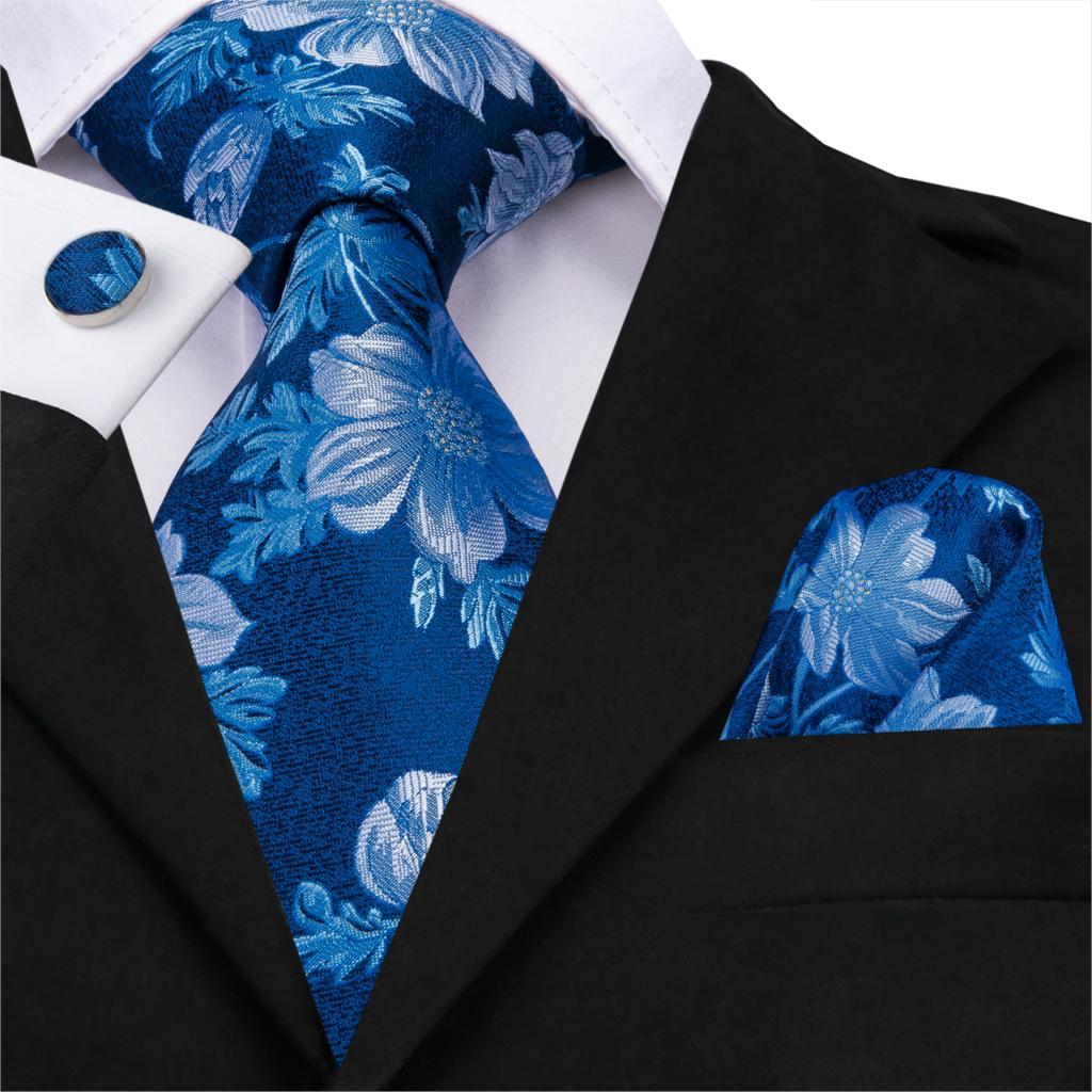 SN-3239 Tie Set For Man Silk Jacquard Blue Necktie Paisley White Flower Neck Tie Set Wedding Evening Party Gift Men Tie