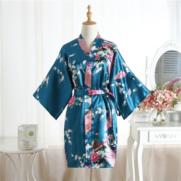12f34507cbd57 US $7.13 21% OFF|2019 New Sexy Brides Bridesmaid Wedding Robe Dress Plus  Size Women Satin Nightgown Print Kimono Bath Gown Sleepwear Pajamas 0702-in  ...