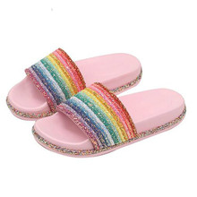 Female Summer Flat Slides Casual Bright Diamond Bling Rainbow Slippers Indoor Home Shoes Outdoor Beach Flip Flops Women Slides цена