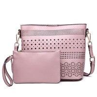 Nova Moda Senhorita Lulu Olhar de Couro Laser Cut Out Shoulder Bag Crossbody sacos de lona ocasional