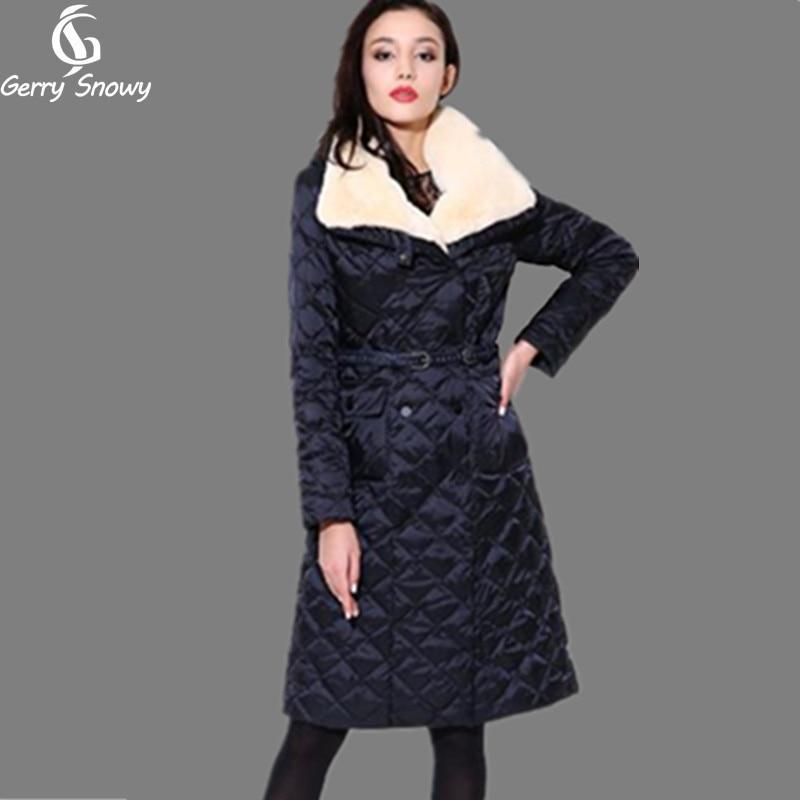 f1144f402d1a womens winter jackets medium-long down coat luxury rex rabbit large fur  collar outerwear winter women jacket women's coat blue
