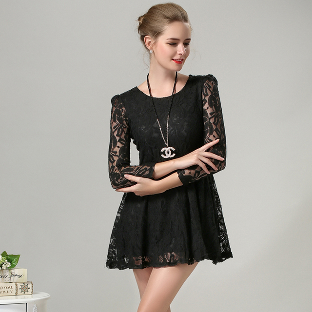9a53b115018 Desigual Black Lace Dress Short Mini 3 4 sleeve 2015 women summer dress 5XL Plus  Size vestidos Sexy womens Dresses D154001