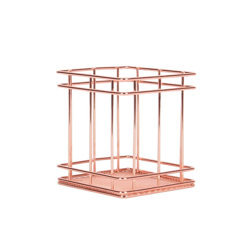Nordic Style Wrought Iron Rose Gold Square Round Pen Holder Sundries Desktop Office Kitchen Makeup Storage Basket Metal Basket