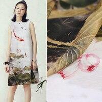 140cm Wide Width Carp Lotus Digital Painting Pure Silk Linen Cloth Mulberry Silk Hemp Clothing Cheongsam