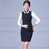 74619a1d4a Plus Size 4XL Autumn Winter Blazers Suits With Vest Skirt Blouse  Professional Ladies Office Work Wear