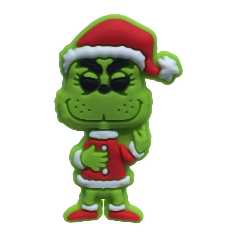 Single Sale 1pc How The Grinch Stole Chris PVC Shoe Charms Shoe Accessories Shoe Decoration For Croc Jibz Kid's Party X-mas Gift