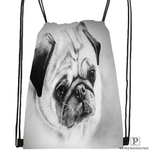 Custom Gray Dog Pug View Drawstring Backpack Bag Cute Daypack Kids Satchel (Black Back) 31x40cm#180531-04-23