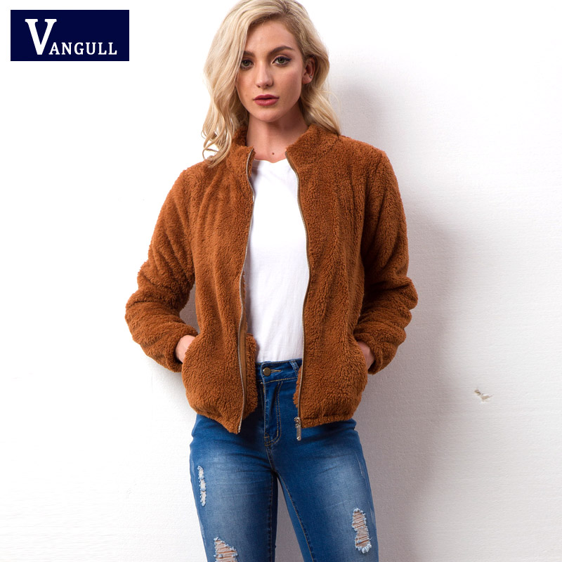 Vangull Velvet   basic     jacket   coat Women warm casual Fur   jackets   female 2018 New Long Sleeve Female Zipper Overcoat Outerwear