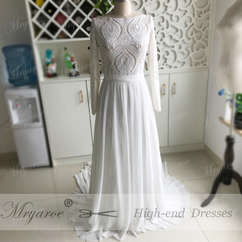 Mryarce Unique Lace Long Sleeves Open Back Hippie StylevWedding Dress Chiffon A line Long Boho Chic Rustic Bridal Gowns (6)