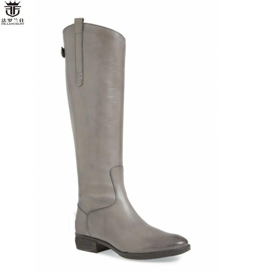 FR. LANCELOT 2018 inverno joelho botas altas dos homens de couro real ocidental botas de cowboy volta zip partido sapatos masculinos de alta qualidade botas