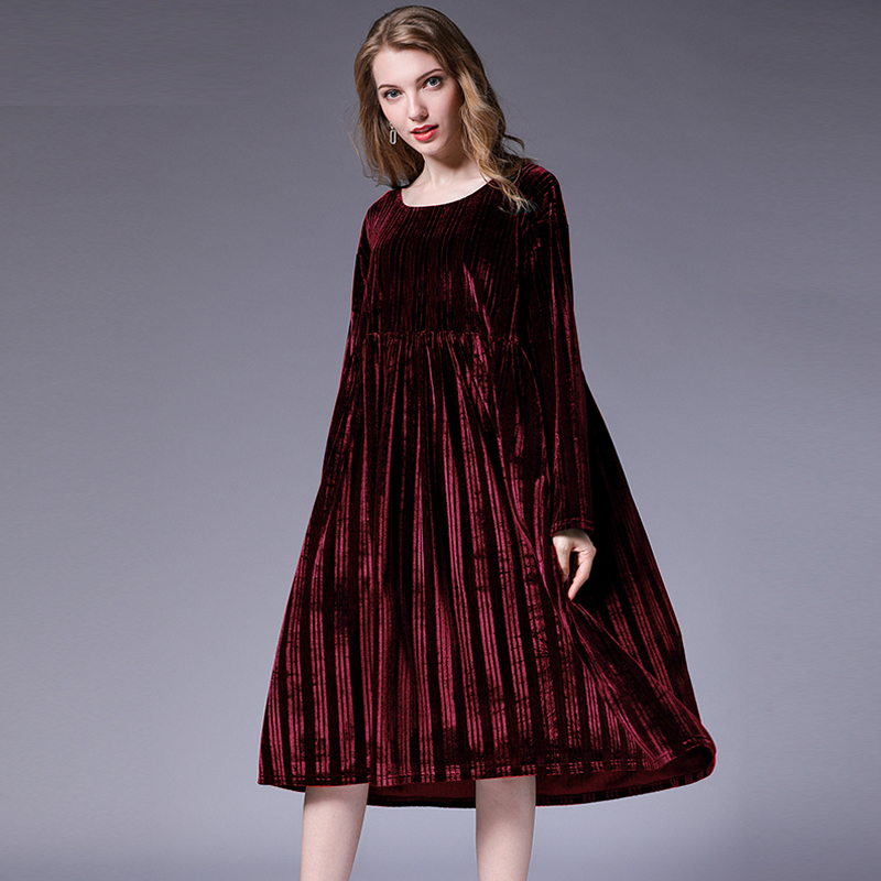 US $29.08 43% OFF|Loose plus size velvet dresses autumn new high waist crew  neck long sleeve casual Elegant dress oversize XL to 4XL solid dresses-in  ...