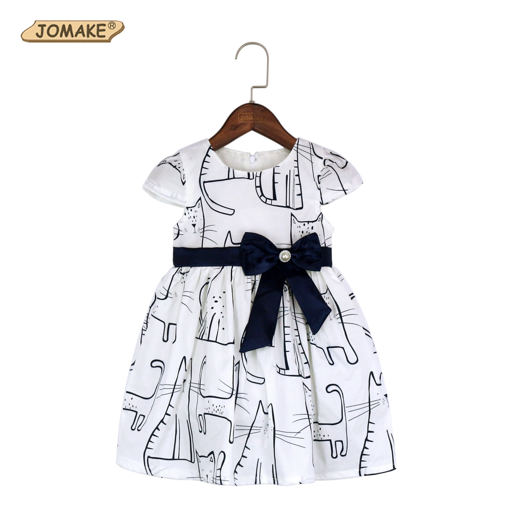 Cat Print Girls Dresses Summer 2018 Children Clothing Cute Bow Baby Girl Clothes Kids Dresses For Girls Dress Princess Dress 18 inch 45cm lifelike marry wedding bride sd bjd vinyl reborn baby doll toys with dresses kjg89