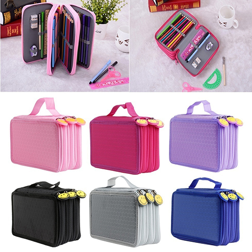 Large Capacity 3 Layer 52 Holes Student Pen Pencil Storage Zipper Case Holder