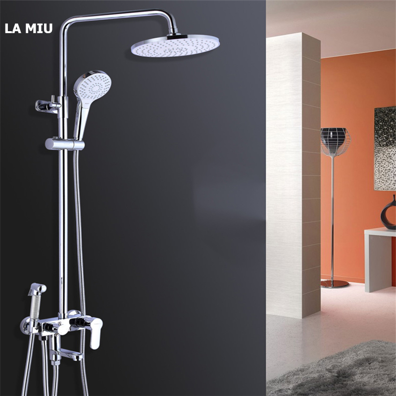 LA MIU Wall Mounted Press to Switch Water Mode Bathroom Rainfall Shower Set Faucet with Bidet Shower Head MLS 2069