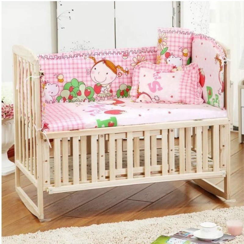 купить 5PCS/SET Baby bedding sets 100% cotton baby bedclothes Cartoon crib bedding set include pillow bumpers mattress/ 90*50cm недорого