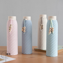 цены New Creative High Quality Glass Cup 310ML Heat-proof Rattan Portable Travel Home Office Drink Water Bottle Female Birthday Gift