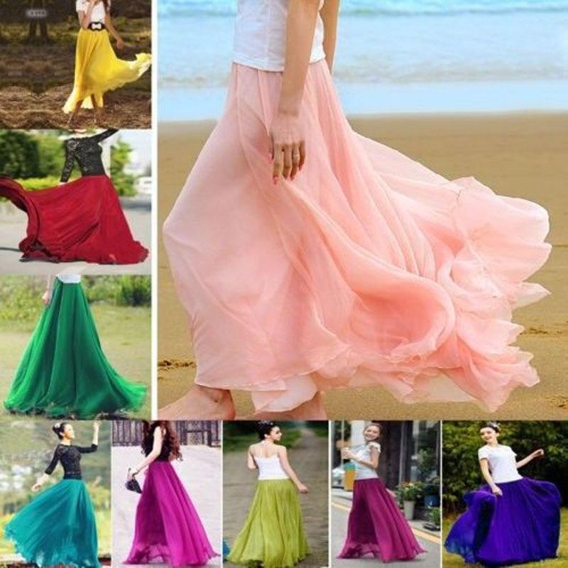 Brand New Women Boho Double Layer Maxi Dress Chiffon Long Sundress Summer Lady Beach Chiffon Solid Skirt