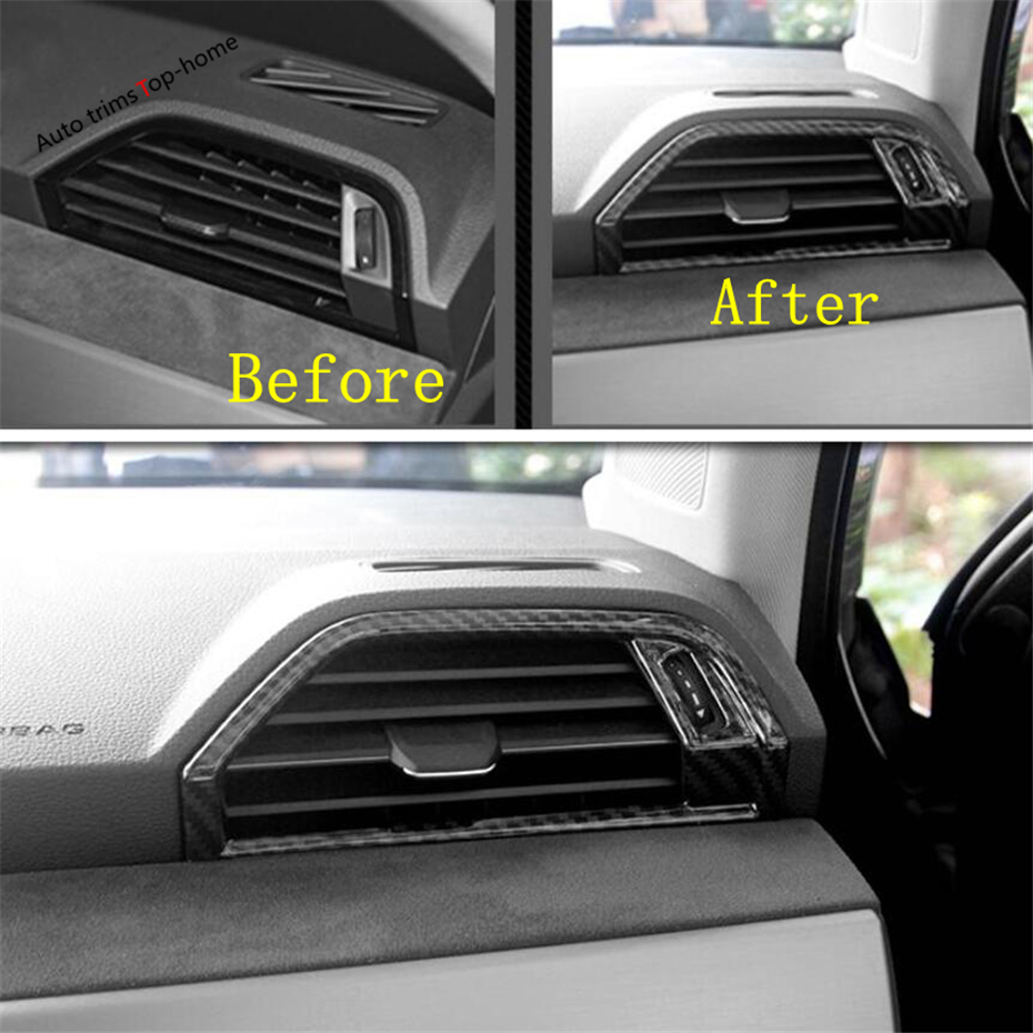 Yimaautotrims Dashboard Air Condition Outlet Vent Cover Trim Fit For Audi Q3 2019 2020 Interior Mouldings Matte Carbon Fiber ABS