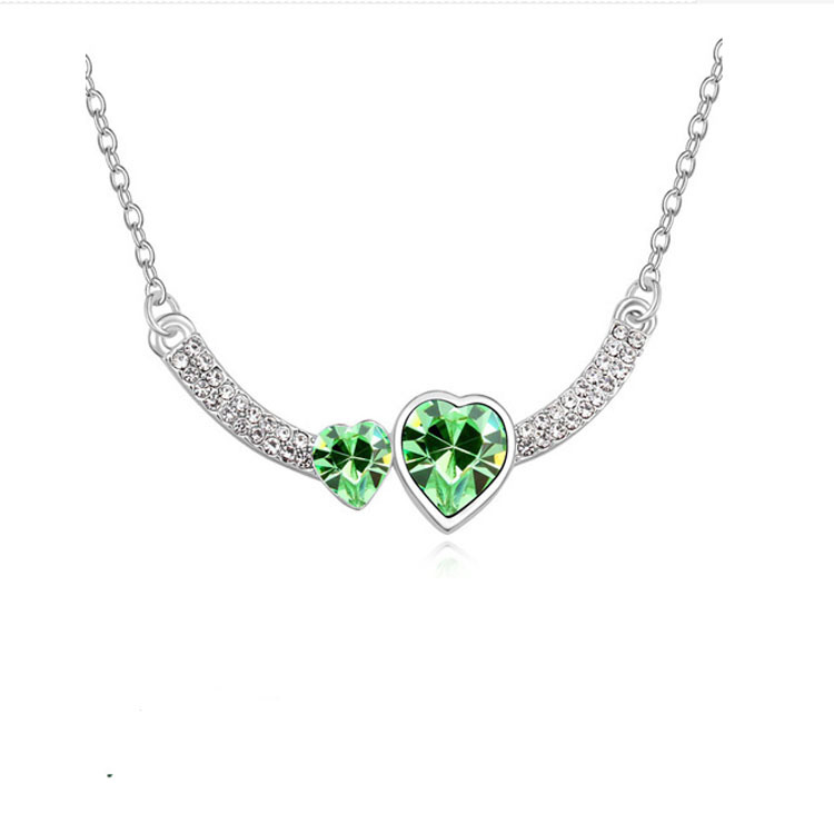 Double Crystal Heart Pendant Necklace 6