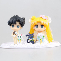 1 Set Belle 5 cm Sailor Moon Figurines Heureux De Mariage Chiba Mamoru Sailor Moon PVC figure Jouet