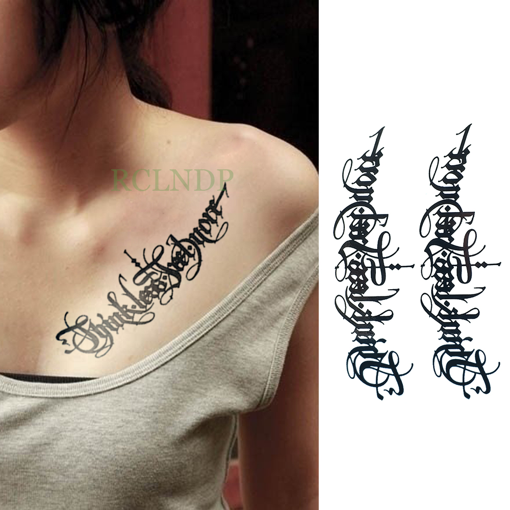Waterproof Temporary Tattoo Tribal Totem Tatto Flash Tatoo Fake Large Size Body Art Arm Chest English For Girl Women Man Temporary Tattoos Aliexpress