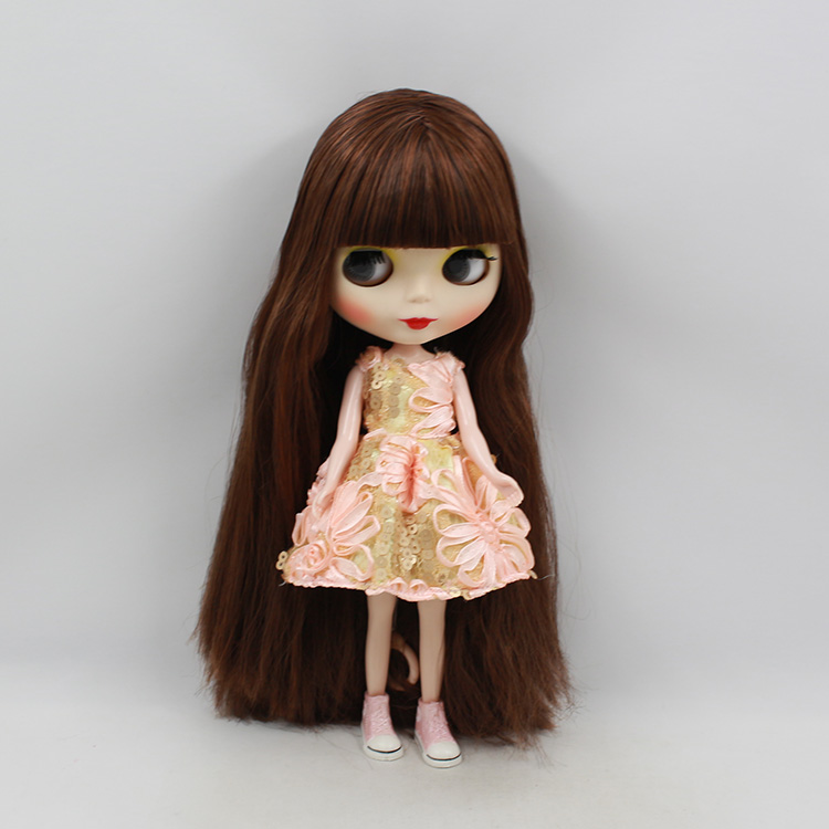 Free shipping Blyth doll nude Brown two-tone fringe hair dolls for girls suit for DIY bjd doll free shipping nude blyth doll brown wavy wig doll toys for girls