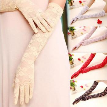 2017 nowe panie koronkowe rękawiczki UV ochrony przeciwsłonecznej lato długi odcinek cienkie rękawiczki rękawiczki i rękawiczki akcesoria rękawiczki tanie i dobre opinie WOMEN S0002 Dla dorosłych Moda Stałe COTTON Rayon Elbow