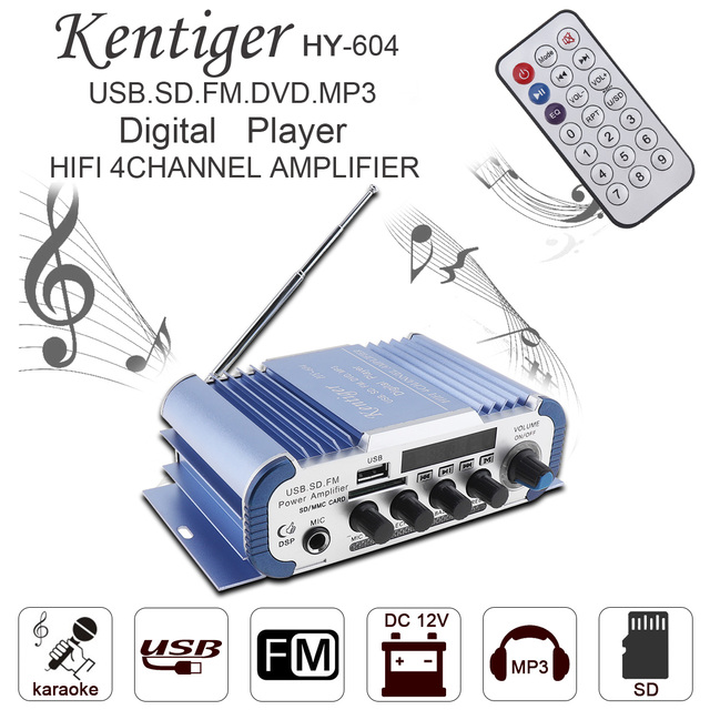 Cheap HY-604 4x42W Hi-Fi Car Audio Power Amplifier FM Radio Player Reverberation Function Support MP3 / FM / USB / SD /DVD /Microphone