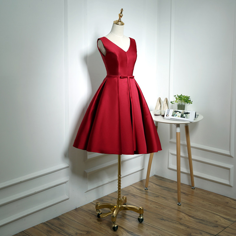 Suosikki Cocktail-Dresses Robe-De-Soiree Party Bridal Wine Red Short Backless Stain Banquet