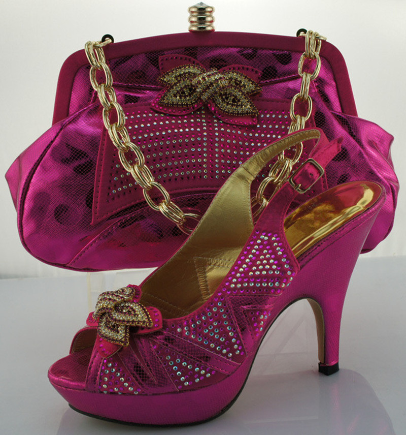 New coming Italian shoes and matching bag 2016 italy design for African party dress size 38-42 ME0013 Fuchsia+pink 2017 new coming italian fashion black ab