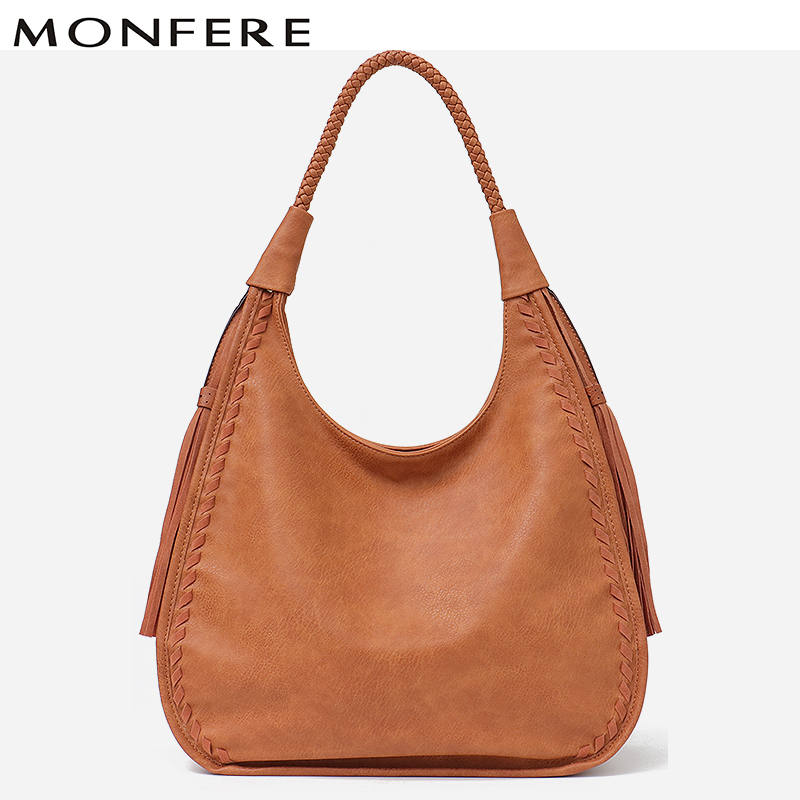 MONFERE Brand Hobo Bag Women Handbags Shoulder Large Female Faux Leather Tassel